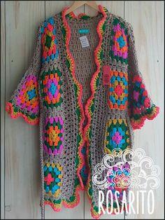 annem için Gilet Crochet, Crochet Coat, Crochet Cardigan Pattern, Crochet Jacket, Crochet Clothes, Rainbow Crochet, Crochet Granny, Knitting Patterns, Crochet Patterns