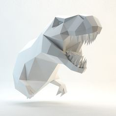 3D papercraft model. You can make your own Trex head for wall decoration! Printable DIY template (PDF)