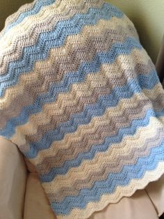 Crochet Baby blanket - blue, ivory and grey crochet baby blanket, baby shower gift - baby boy nursery decor - blue gray chevron Want a homemade baby gift? Here is a baby blue and gray and Ivory baby blanket! Baby Boy Crochet Blanket, Baby Boy Blankets, Blue Blanket, Baby Afghans, Crochet Blanket Patterns, Crochet Baby, Chevron Crochet, Crochet Ripple, Crib Blanket