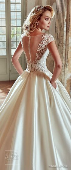 Nicole Spose Wedding Dress Collection 2017| Illusion neckline ballgown with lace appliques, pockets and cap sleeves bridal gown #weddingdress #bridalgown #brides #weddings #bridal