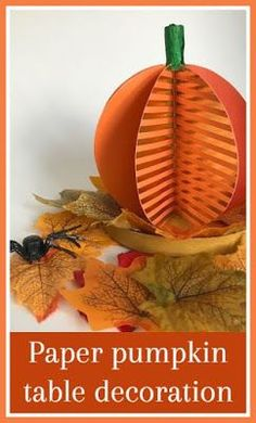 Paper pumpkin table decoration tutorial, a simple centerpiece using scraps of coloured paper and card Pumpkin Table Decorations, Pumpkin Centerpieces, Simple Centerpieces, Halloween Crafts For Toddlers, Autumn Activities For Kids, Crafts For Kids, Halloween Activities, Fall Arts And Crafts, Autumn Crafts