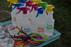 """For a bug themed party....make """"bug spray"""" with water filled bottles and the kids are the bugs. Give them antennae to wear..."""