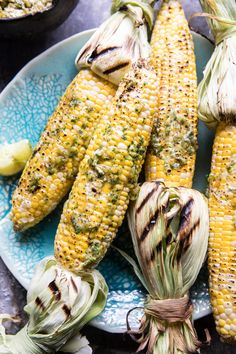 Mexican Grilled Corn with Green Chile Honey Butter | halfbakedharvest.com @hbharvest