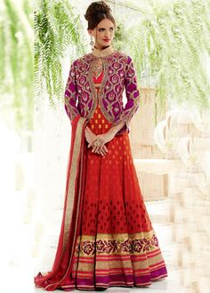 #Red - Perfect #Wedding Dress Colour, Elegant Pure #Georgette #Anarkali Style #Suit @ Manndola.com