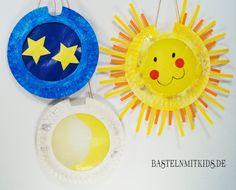 Sonne Mond Sterne Laterne basteln mit Papptellern