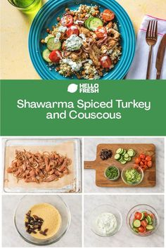 Add this deliciously wholesome dish to your list of quick and easy dinner ideas! Shawarma spiced turkey and couscous are served with roasted chickpeas, apricot, and cucumber raita for a dreamy combination of Mediterranean flavours. Try the recipe tonight and have it on the table in 20 minutes! Family Recipes, Family Meals, Shawarma Spices, Recipe Tonight, Weeknight Recipes, Balanced Meals, Roasted Turkey, Chickpeas
