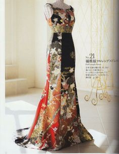 Wedding kimono pattern - love the material and colours but would prefer longer train Kimono Fabric, Kimono Dress, Dress Up, Gold Dress, Yukata, Modern Kimono, Prom Dresses With Pockets, Kimono Pattern, Pattern Sewing