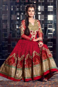 Enchanting Dia Mirza Maroon Net Floor Touch Designer Anarkali Suit