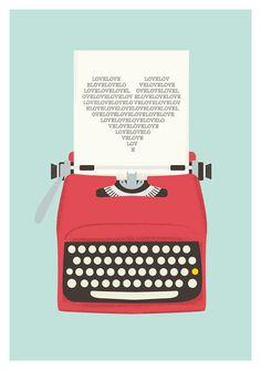 Vintage typewriter poster* mid century art* Retro print* heart print* words* pop art* posters with typewriters Pop Art Poster, Poster Design, Print Poster, Graphic Design, Design Art, Design Ideas, Love Posters, Vintage Posters, Art Posters