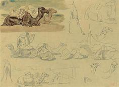 Eugène Delacroix, * FRENCH, 1798 - 1863 STUDIES OF CAMELS