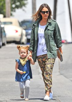 All dressed up: Jessica sported floral trousers and a green jacket while Haven looked cute in a blue top and grey leggings