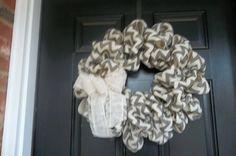 NEW 18  Grey Chevron Burlap Wreath by cindidavis1 on Etsy, $30.00