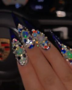 Pin on sexy nails Bling Acrylic Nails, Best Acrylic Nails, Bling Nails, Glam Nails, Rhinestone Nails, Stiletto Nails, Coffin Nails, Sexy Nails, Hot Nails