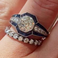 Vintage Art Deco engagement ring stacked with byErstwhile Old Miner diamond eternity band Different Engagement Rings, Deco Engagement Ring, Rose Gold Engagement Ring, Vintage Engagement Rings, Vintage Rings, Vintage Art, Bijoux Art Deco, Art Deco Jewelry, Fine Jewelry