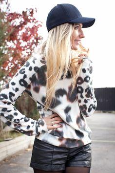 {Sportin' Print} Sportswear / Black hat / All Saints Leopard Sweater / H&M Leather Shorts / Nine West Booties