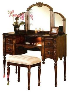 Cherry Brown Finish Wood Make Up Bedroom Vanity Set Traditional And Makeup