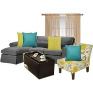 gray, yellow and aqua living rooms -