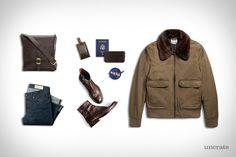 Frye Chris Inside Zip Boots ($328). Frye Small Messenger Bag ($428). Frye Logan Travel Wallet ($198). Imogene + Willie Charlie Rigid Jeans ($235). Acne Studios Bomber Jacket ($690). Apolis Global Luggage Tag ($24). Nasa Space Program Vector Patch ($1). Presented...