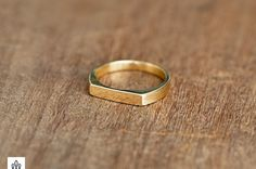 Solid GOLD Half Plat Ring Unique ring flat head by HotCrown Dainty Gold Rings, 14k Gold Ring, Boho Rings, Unique Rings, Beautiful Rings, Yellow Rings, Gold Wedding Rings, Wedding Bands, Love Ring