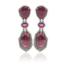 Sutra Jewels Ruby and Rough Sapphire Drop Earrings
