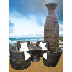 GeoVase Interlocking All Weather Wicker Furniture Lounge Set by Deeco. $775.00. Interlocking stackable set includes: 4 chairs (2 large & 2 small) and 1 table. White throw pillows included. Rust-resistant double-welded powder-coated aluminum frame. Table comes with a tempered glass top. Dual-sided stain resistant white cushions with tangerine piping. GeoVase Interlocking All Weather Wicker Furniture Lounge Set