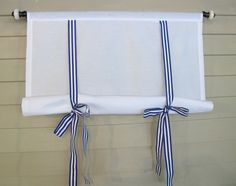 White 60 Inch Long Cotton Swedish Roll Up Shade Stage Coach Blind Royal Blue Gross Grain Ribbon Ties Tie Up Curtains, Curtains With Blinds, Patio Windows, Blinds For Windows, Window Coverings, Window Treatments, Coat Closet Organization, Traditional Curtains, Horizontal Blinds
