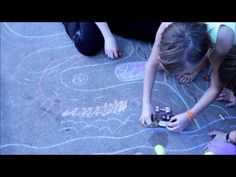 Fan Photos!  Using sidewalk chalk for drawing roads for your toy cars and trains for unique, creative, always different play ideas for kids.
