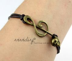 Antique bronze Note bracelet-Brown jewelry-Leather band bracelet-Charm bangle unisex gift