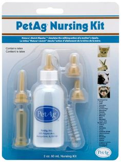 $5.95-$6.99 PetAg® Nursing Kits have all the items you will need to nurse your newborn pet. Great for use with all PetAg® nutritionals (not included) each kit contains one feeding bottle with nipple, assorted extra nipples and one cleaning brush. Bottles are made of a durable plastic that will withstand repeated use & sterilization. Each bottle is graduated so you can accurately measure each feed ...