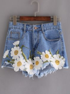 SheIn offers F… Shop Frayed Embroidered Flower Applique Blue Denim Shorts online. Diy Shorts, Diy Jeans, Sewing Jeans, Skirt Sewing, Jeans Fit, Painted Jeans, Painted Clothes, Flower Applique, Embroidered Flowers