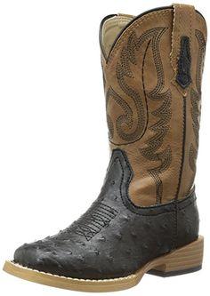 Amazon.com   Roper Square Toe Faux Ostrich Western Boot   Boots