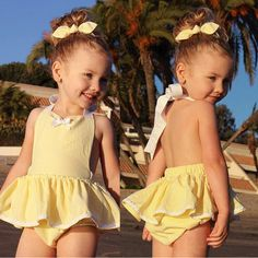 >> Click to Buy << Baby Girl Infant Toddler Jumper Romper Dress Backless High Quality Yellow Jumpsuit Outfit Cute Headband Summer #Affiliate