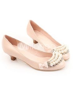 Sweet Pink Round Toe Flat Sheepskin Pearl Fashion Prom Shoes $54.99 - my prom days are far behind me, but I still think these are cute!