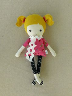 Fabric Doll Cloth Doll with Pink Woodland Elf Top