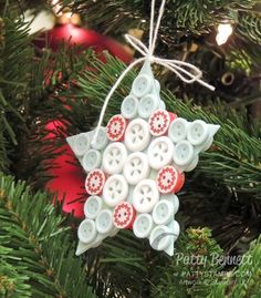Nordic Noel Buttons Star Christmas ornament from Stampin' Up! Festival of Trees Christmas tree. Founder's Circle service project 2014.