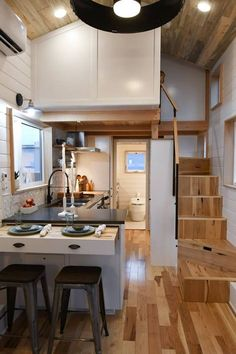 Kootenay for family of 3 by Tru Form Tiny Homes in Eugene, Oregon Tiny House Movement // Tiny Living // Tiny House on Wheels // Tiny House Kitchen // Tiny Home Kitchen // Tiny Home Tiny House Movement, Tiny House Plans, Tiny House On Wheels, Tiny House With Loft, Tiny Loft, Modern Tiny House, Loft House, Home Design Plans, Home Interior Design