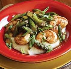 Shrimp and Asparagus with Cheddar Grits--This dish is a quick riff on the Southern classic Shrimp and Grits.Don't skimp on the Worcestershire; mellowed with butter, it makes a simple yet savory sauce for the shrimp and asparagus. For best flavor, use wild-caught shrimp. Via FineCooking