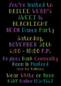 PRINTED or DIGITAL Neon Black Light Sweet 16 by HanBananDesigns, $0.82