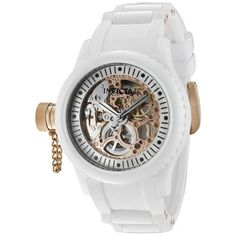Know the time with style! Its white, and simple band and ring but don't be fooled. The clear background to the clock hands let you see the gear work inside and its divine. Awe inspiring, would definitely wear.