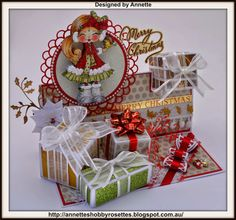 Gift Box Easel Xmas Card Gift Box Easel Card Recipe: Sherri Ann Baldy's My Besties Image Original Col. Exploding Boxes, Easel Cards, Christmas Cards, Christmas Ideas, Digi Stamps, Winter Christmas, Xmas Gifts, Making Ideas, Besties