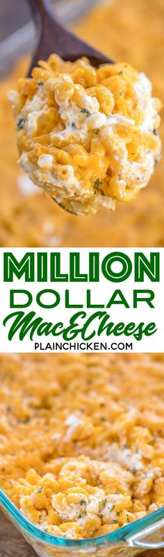 Million Dollar Mac & Cheese - the creamiest and dreamiest mac and cheese EVERRRR!!! This is the most requested mac and cheese in our house. Macaroni, cheese sauce, cottage cheese, sour cream, cream cheese, cheddar cheese. Great for potlucks and cookouts!