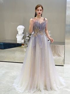 Elegant Purple Gradient-Color Evening Dresses 2020 A-Line / Princess Spaghetti Straps Sleeveless Beading Pearl Glitter Tulle Sweep Train Ruffle Backless Formal Dresses Ball Dresses, Ball Gowns, Prom Dresses, Flapper Dresses, Formal Dresses For Weddings, Dresses Elegant, Pretty Dresses, Fantasy Dress, Gowns Of Elegance