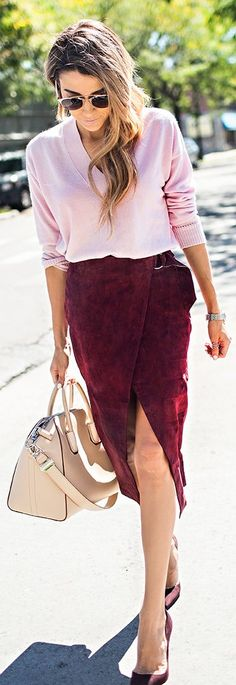 Burgundy Suede Skirt Fall Inspo by Hello Fashion