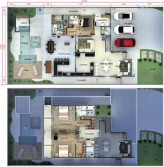 bedroom home with study nook and triple car garage 8 ⋆ Home & Garden Design Pool House Plans, Study Nook, Villa, Home Garden Design, Bungalow House Design, Minimalist Apartment, Expensive Houses, Sims House, House Layouts