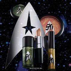 The sci-fi saga of a lifetime continues! M·A·C and Star Trek's exclusive makeup collaboration of astral hues has arrived. Start your cosmic collection online today, or in stores next week, in select markets! #MACStarTrek Pictured: Pressed Pigment Eye Shadow in Bird Of Prey, Studio Nail Lacquer in Skin Of Evil, Lipstick in Llap, Lipglass in Pleasure Planet, and Trip The Light Fantastic Powder in Highly Illogical.