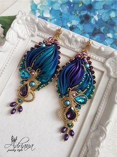 Shibori Soutache Earrings Purple Turquoise Violet Silk Beaded