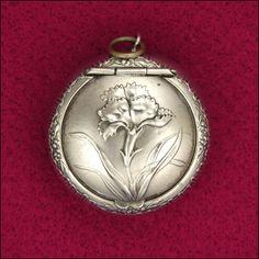 French Art Nouveau Silver Repoussé Compact Pendant | JV