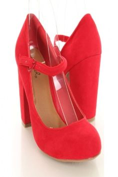 abff6c27a2c Red Faux Suede Round Closed Toe Mary Jane Pump Chunky Heels   Sexy Clubwear