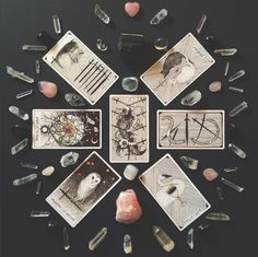 the wild unknown tarot image via @crystalsandsage  crystals, sage, selenite, quartz, tarot, mandala, rose
