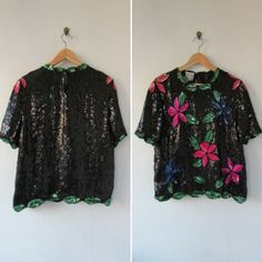 1980s top | vintage 1980s top | sequin blouse | floral sequin top | vintage 1980s evening wear | small | The Stenay Sequin Silk Top by VivianVintage8 on Etsy